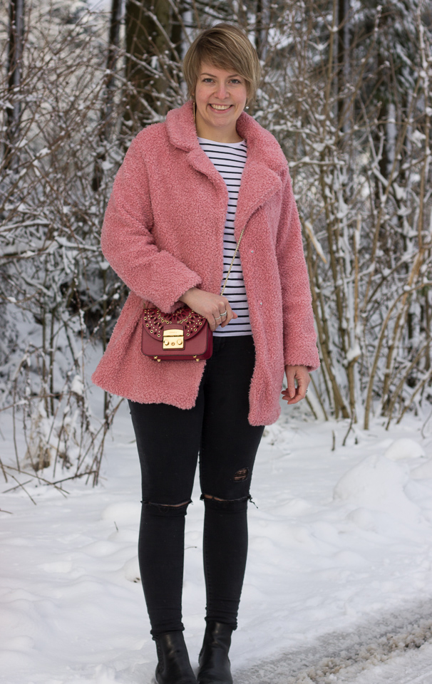 Outfit: Der rosa Teddymantel – oder ich fühle mich wie einMarshmallow