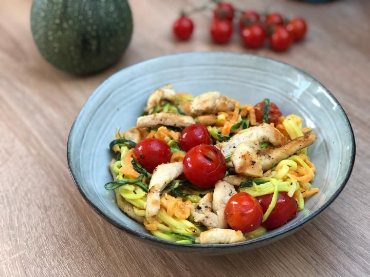 Rezept: Spiralnudeln in Currysauce mit Hähnchen für 4SP